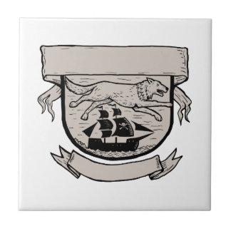 Wolf Running Over Pirate Ship Crest Scratchboard Ceramic Tile