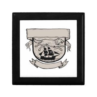 Wolf Running Over Pirate Ship Crest Scratchboard Gift Box