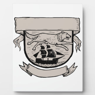 Wolf Running Over Pirate Ship Crest Scratchboard Plaque
