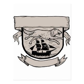 Wolf Running Over Pirate Ship Crest Scratchboard Postcard