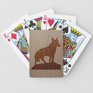Wolf silhouette engraved on wood design poker deck