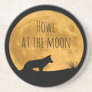 Wolf Silhouetted in Bright Moon Beverage Coaster