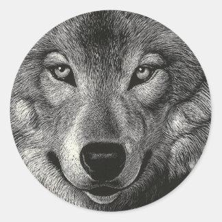 Wolf Sketch Round Sticker