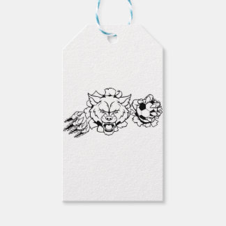 Wolf Soccer Mascot Breaking Background Gift Tags
