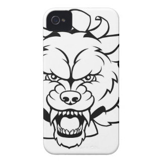 Wolf Soccer Mascot Breaking Background iPhone 4 Case-Mate Case