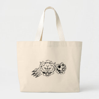 Wolf Soccer Mascot Breaking Background Large Tote Bag