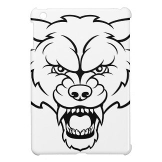 Wolf Sports Mascot Angry Face iPad Mini Cover