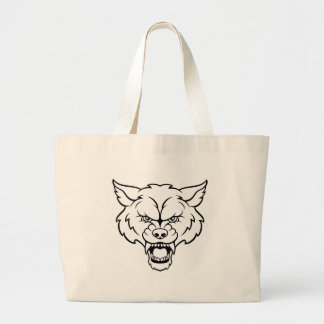 Wolf Sports Mascot Angry Face Large Tote Bag