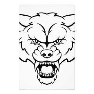 Wolf Sports Mascot Angry Face Stationery