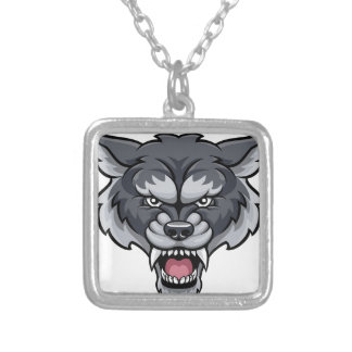 Wolf Sports Mascot Silver Plated Necklace