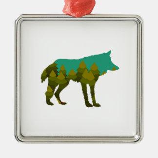 Wolf stroll metal ornament