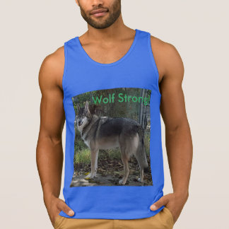 Wolf strong! in blue singlet