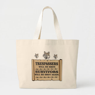 wolf survivor yeah large tote bag