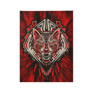 Wolf Tattoo Style Haida Art Wood Poster