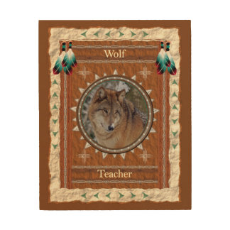 Wolf  -Teacher- Wood Canvas