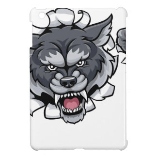 Wolf Tennis Mascot Breaking Background Cover For The iPad Mini