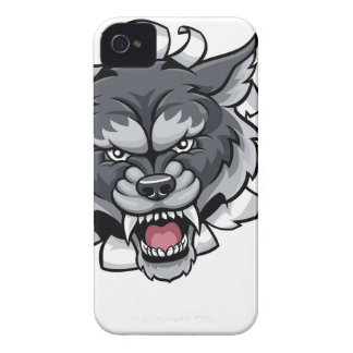 Wolf Tennis Mascot Breaking Background iPhone 4 Cases