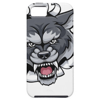 Wolf Tennis Mascot Breaking Background iPhone 5 Covers