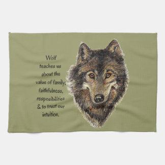 Wolf totem Inspirational Spirit Guide Animal Tea Towel