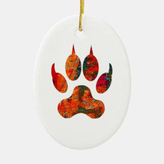 Wolf Track Ceramic Ornament