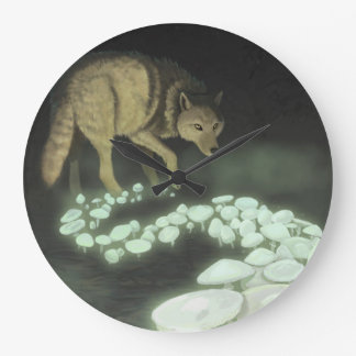 Wolf Trailing Death Mushrooms Large Clock