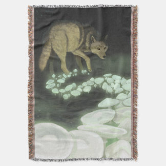 Wolf Trailing Death Mushrooms Throw Blanket
