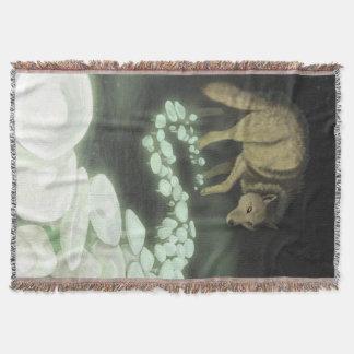 Wolf Trailing Death Mushrooms Throw Blanket