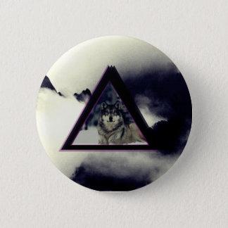 wolf triangle 6 cm round badge