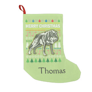 Wolf Ugly Christmas Sweater Wildlife Series Small Christmas Stocking