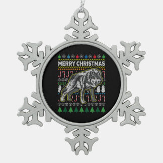 Wolf Ugly Christmas Sweater Wildlife Series Snowflake Pewter Christmas Ornament