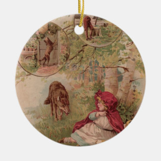 Wolf Walking Toward Red Riding Hood Christmas Tree Ornaments