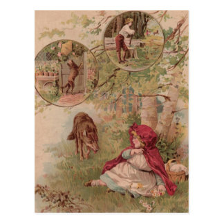 Wolf Walking Toward Red Riding Hood Postcard