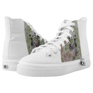 Wolf Watercolor Art Design High Top Sneaker