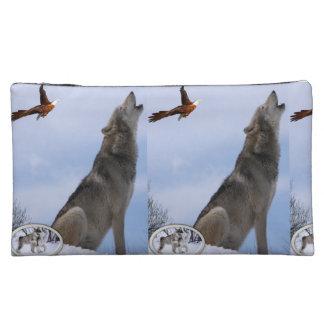 wolf wildlife girls baggette cosmetic bag