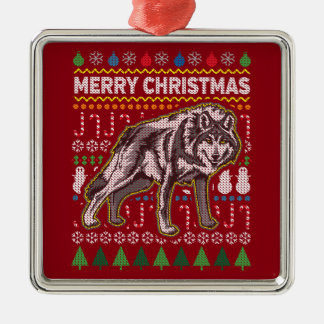 Wolf Wildlife Merry Christmas Ugly Holiday Sweater Metal Ornament