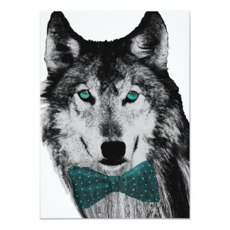 Wolf with Blue Eyes 11 Cm X 16 Cm Invitation Card