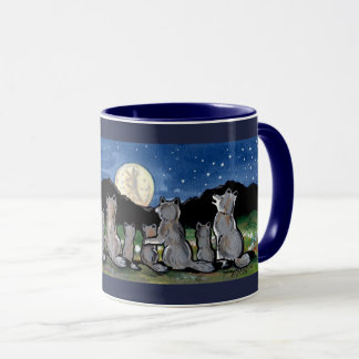 Wolf Wolves Howling at Moon Designer Dark Blue Mug