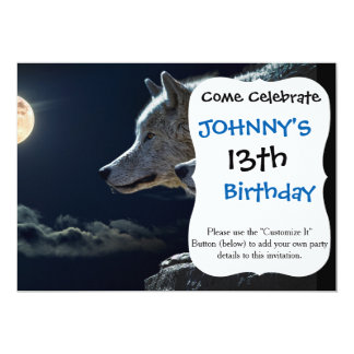 Wolf Wolves Howling at the Full Moon 13 Cm X 18 Cm Invitation Card