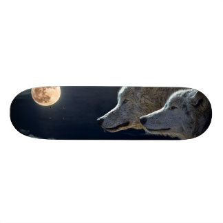 Wolf Wolves Howling at the Full Moon 19.7 Cm Skateboard Deck