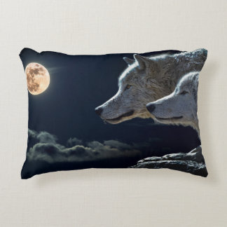 Wolf Wolves Howling at the Full Moon at Night Decorative Cushion