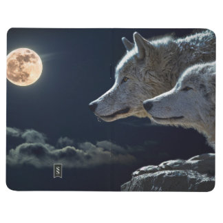 Wolf Wolves Howling at the Full Moon at Night Journals