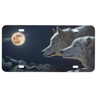 Wolf Wolves Howling at the Full Moon at Night License Plate