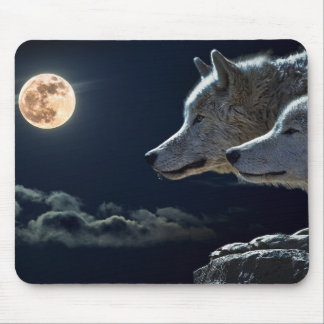 Wolf Wolves Howling at the Full Moon at Night Mouse Pad