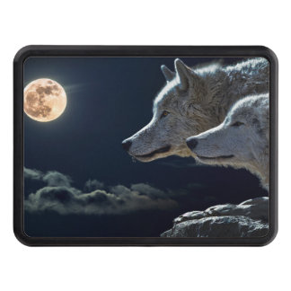Wolf Wolves Howling at the Full Moon at Night Hitch Covers