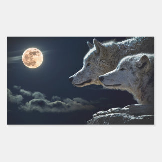 Wolf Wolves Howling at the Full Moon at Night Rectangular Sticker