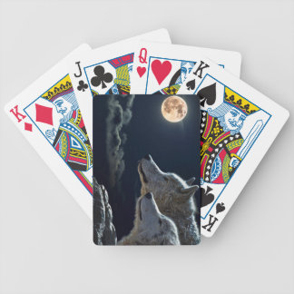 Wolf Wolves Howling at the Full Moon Bicycle Playing Cards