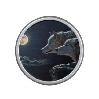 Wolf Wolves Howling at the Full Moon Bluetooth Speaker