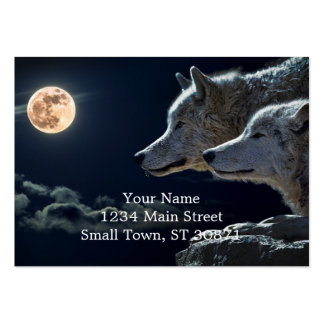 Wolf Wolves Howling at the Full Moon Pack Of Chubby Business Cards