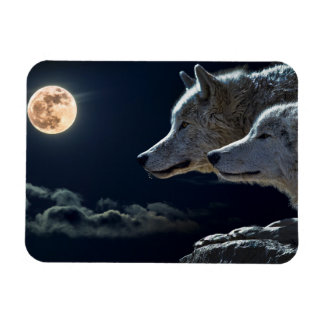 Wolf Wolves Howling at the Full Moon Fridge Magn Rectangular Photo Magnet