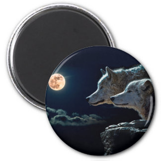 Wolf Wolves Howling at the Full Moon 6 Cm Round Magnet